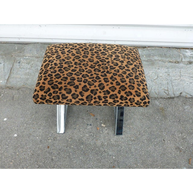 1970's Chromed steel x stretcher bench with leopard fabric manner/style of Milo Baughman re- chromed and ready to go....
