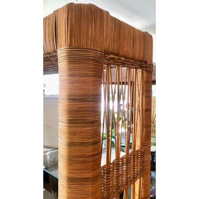 Brown Pair Rattan Etageres From 70's For Sale - Image 8 of 10