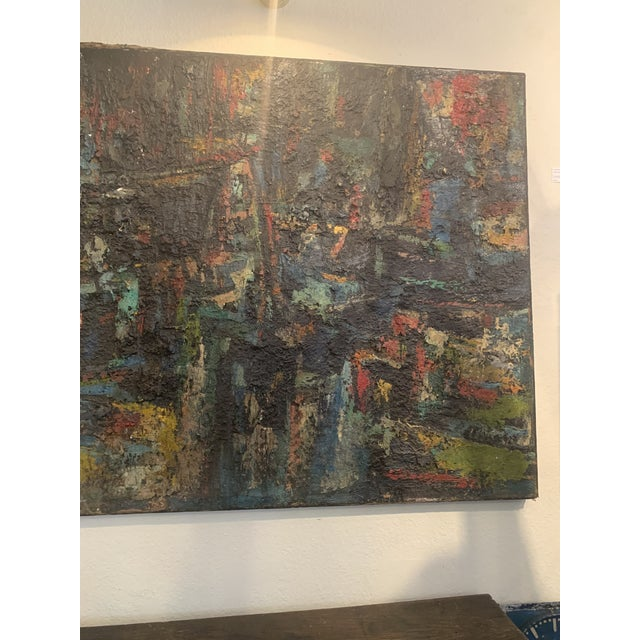 "Large abstract titled ""Midnight Fire"" painted between 1959-1966 by Joo-Yon Ohm Ceerderberg in the art department at Albany..."