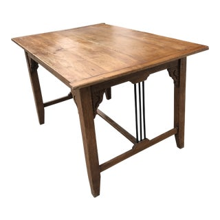 1940s Vintage Italian Wood and Iron Farm Table For Sale