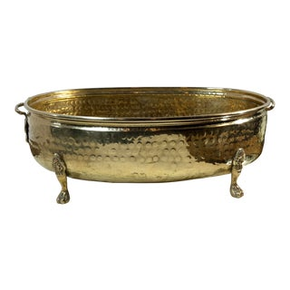 Traditional Hand Hammered Brass Large Oval Footed Planter with Lion Feet & Handles For Sale