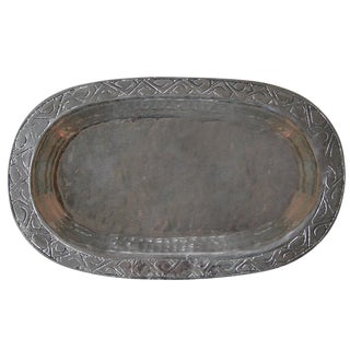 Engraved Turkish Copper Tray For Sale