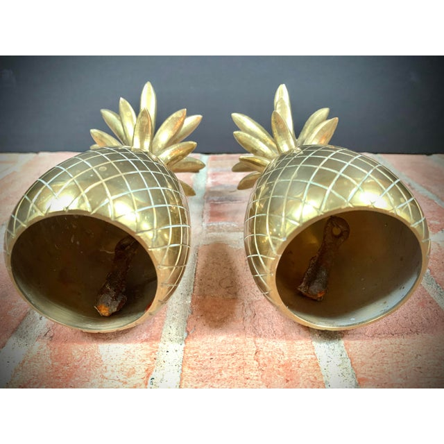 1970s Vintage Brass Pineapple Candle Holders / Dinner Bells - a Pair For Sale - Image 5 of 7