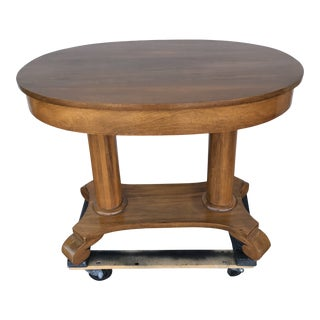 1950s Mediterranean Oval Library Wood Pedestal Table For Sale