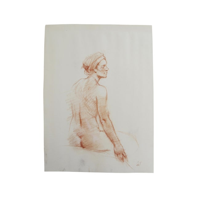 Chalk Figure Drawing of a Nude With Headwrap - Image 1 of 4