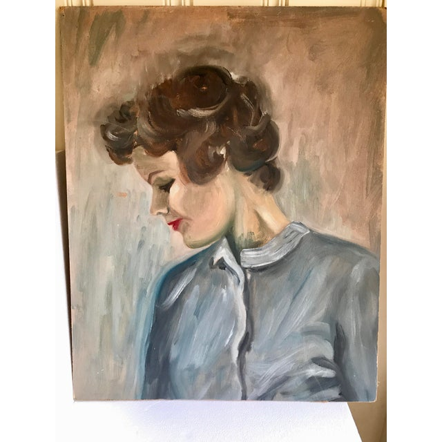 Beautiful vintage large unframed female portrait painting on board canvas. Signed on the back. Demure in time, colors and...