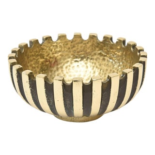 Mid Century Modern Brass and Blackened Brass Metal Bowl For Sale