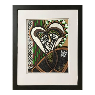 "Framed Abstract ""The Curious Poet"" Mixed Media by Laurel Rosenberg For Sale"
