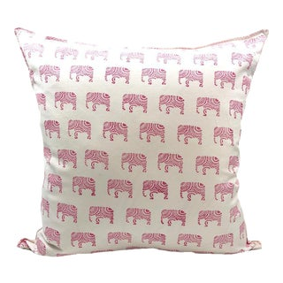 Indian Block Print Pink Elephant 22x22 Pillow Cover For Sale