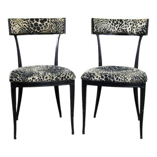 Pair Black Art Deco and Animal Print Side Chairs Cast Aluminum by Crucible Products For Sale