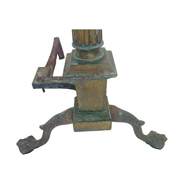 Bronze Column Andirons - a Pair - Image 4 of 5