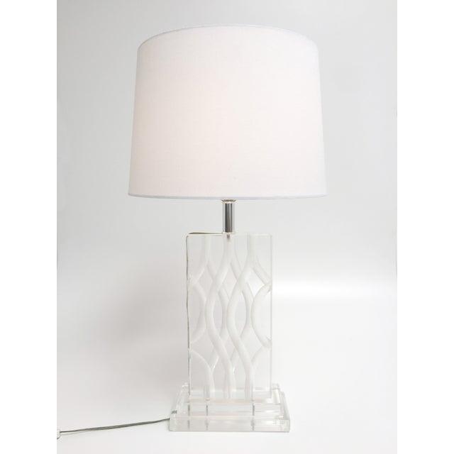Hollywood Regency Vintage Van Teal Carved Lucite Table Lamp For Sale - Image 3 of 10