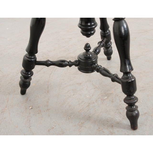 French Early-20th Century Ebonized Piano Stool For Sale - Image 9 of 10