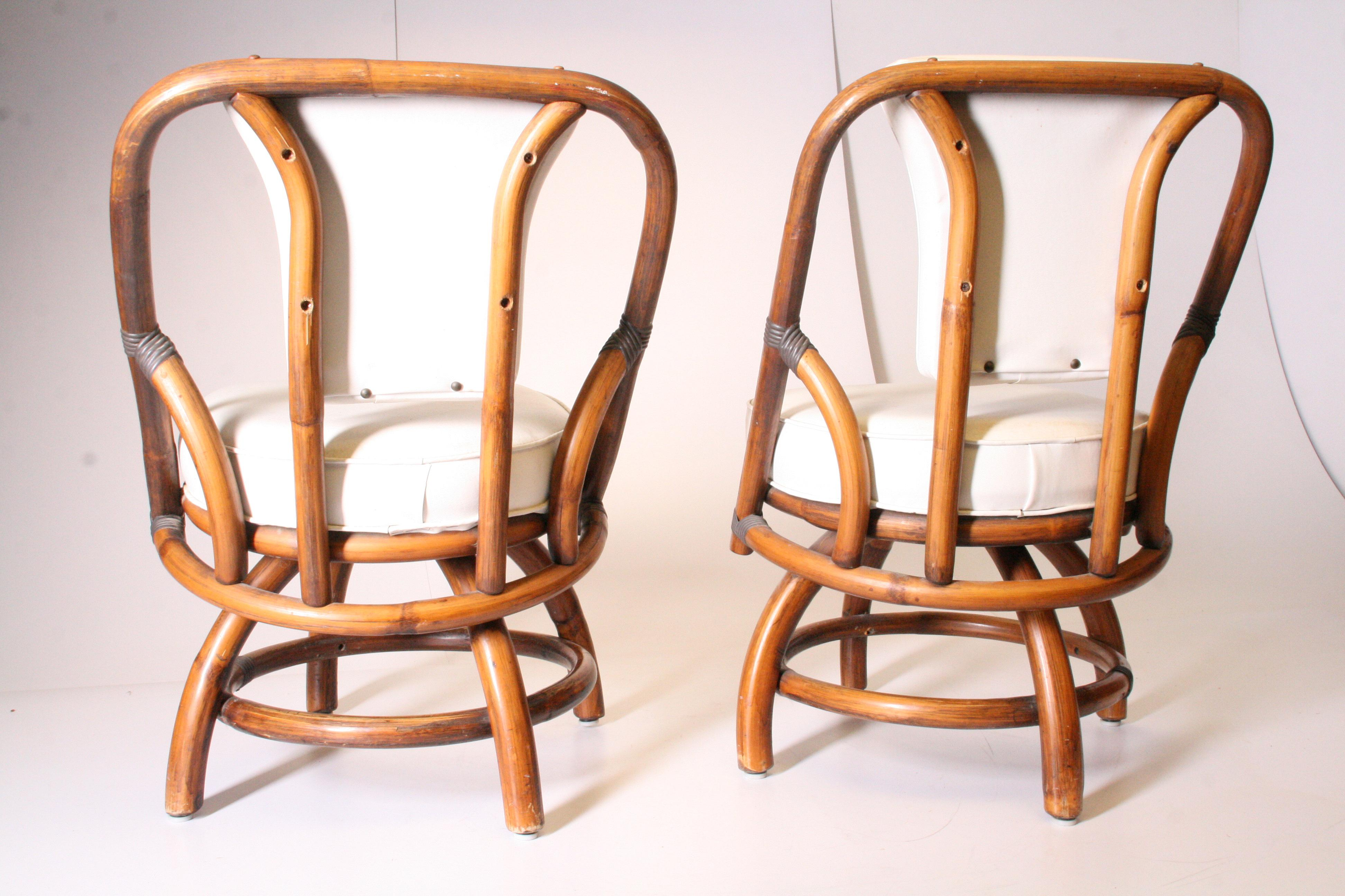 Genial Boho Chic Bamboo U0026 Rattan Swivel Chairs   A Pair   Image 5 Of 11
