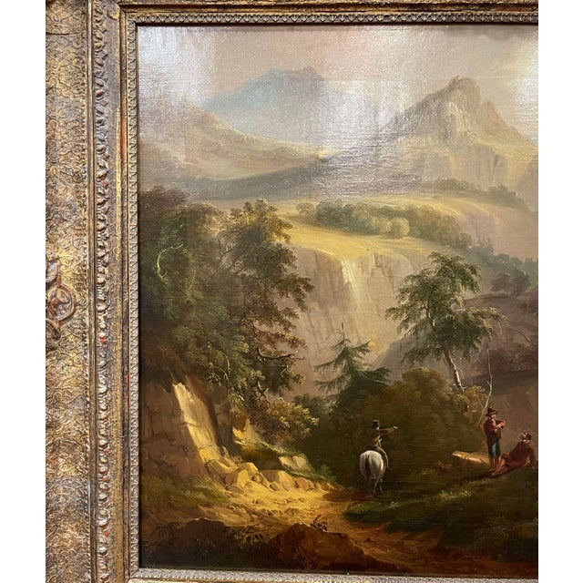 French 19th Century French Oil on Canvas Pastoral Painting in Carved Gilt Frame Signed For Sale - Image 3 of 13