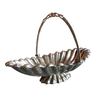 Victorian Brides Basket, Antique Flower Display, Sterling Plated Copper For Sale