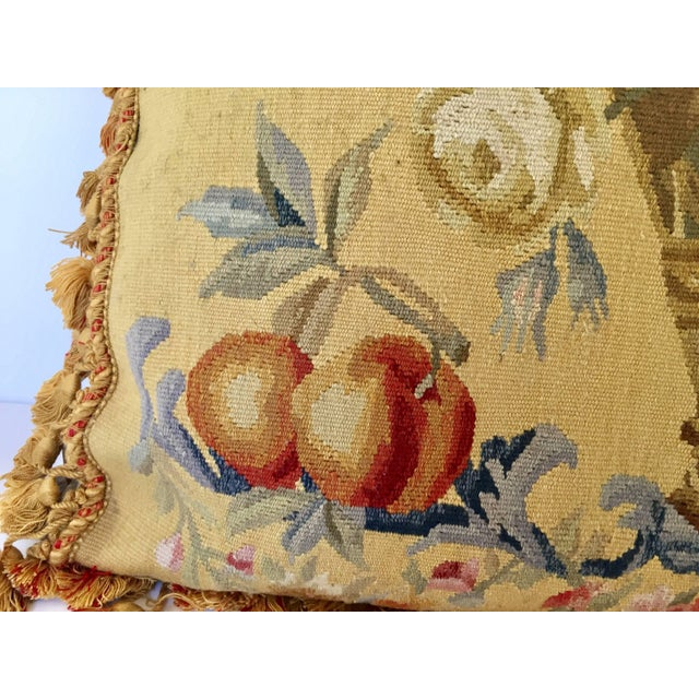 1940s Aubusson Style Large Tapestry Decorative Pillow For Sale - Image 5 of 13