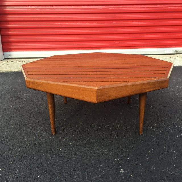 Mid-century Octagonal Walnut Slat Coffee Table - Image 4 of 7