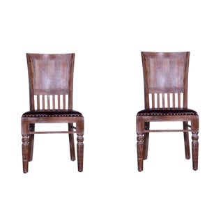 Cyrano Wooden Armless Dining Chair Industrial Style Leather Wood Dining Chair- a Pair For Sale