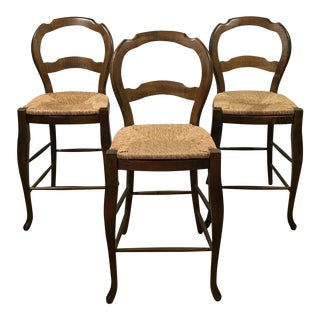 French Country Pottery Barn Rush-Seat Counter Stools - Set of 3