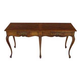Baker Two-Drawer Walnut Console Table For Sale