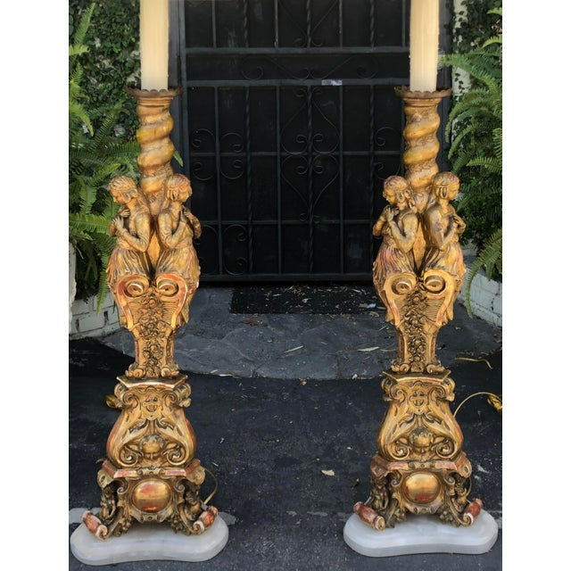 Pair of Antique French Giltwood Figural Floor Lamps