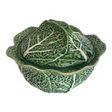 Image of Vintage Green Bordallo Pinheiro Cabbage Tureen For Sale