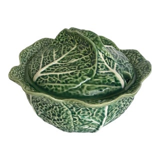 Vintage Green Bordallo Pinheiro Cabbage Tureen For Sale