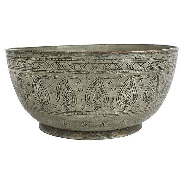 Antique Engraved Copper Bowl For Sale