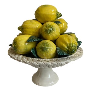 Italian Majolica Lemon Compote For Sale