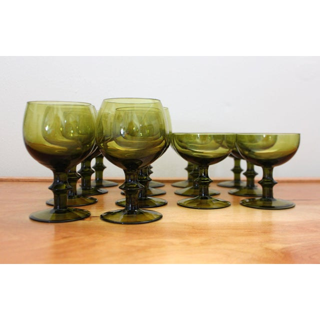 1960s Mid-Century Modern Olive Green Goblets by Hoffman House Set - 14 Pieces For Sale In San Francisco - Image 6 of 6