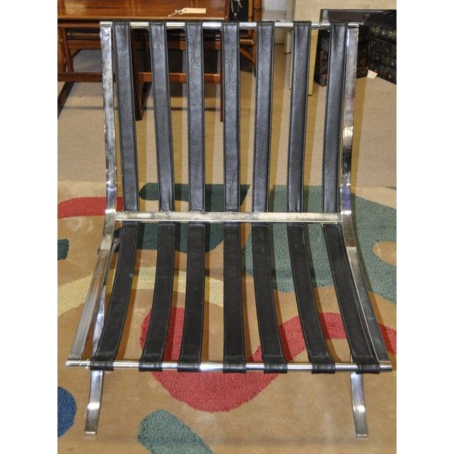 Barcelona Style Chrome & Leather Chairs - Pair - Image 7 of 8