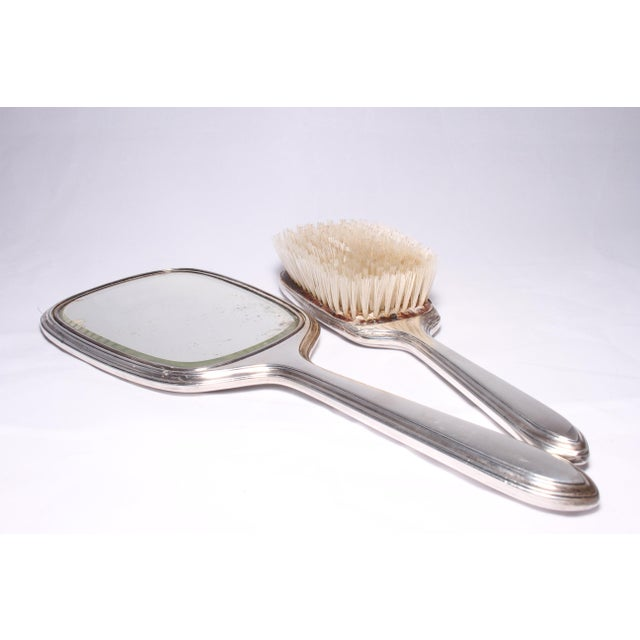 Silver Art Deco Gorham Sterling Silver Hand Mirror & Brush Set For Sale - Image 8 of 11