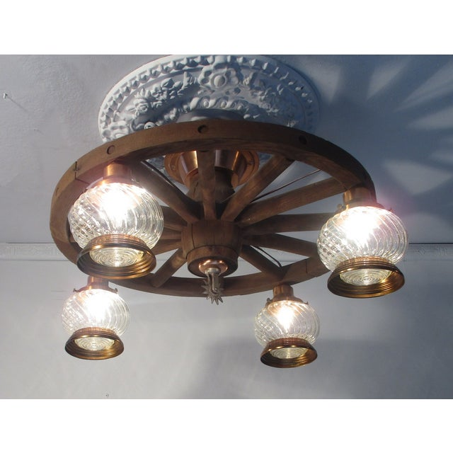 Wagon Wheel Country Western Chandelier - Image 6 of 7