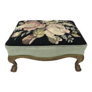 Antique Velvet & 'Rose' Needlepoint Gilt Wood Foot Stool For Sale