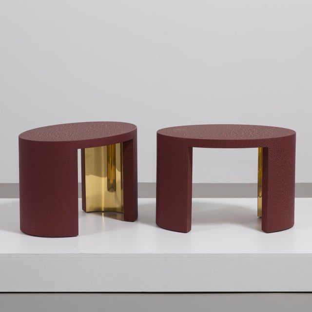 A Pair Oval Crackle Side Tables by Talisman Bespoke (Burgundy and Gold) Price includes 20% VAT which is removed for items...