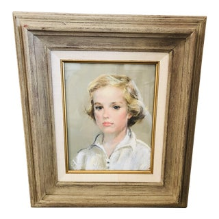 1950s Vintage Ann Hebenstreit Framed Pastel Drawing For Sale