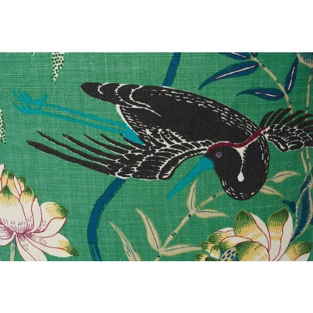 Contemporary Schumacher Double-Sided Pillow in Lotus Garden Linen Print For Sale - Image 3 of 6