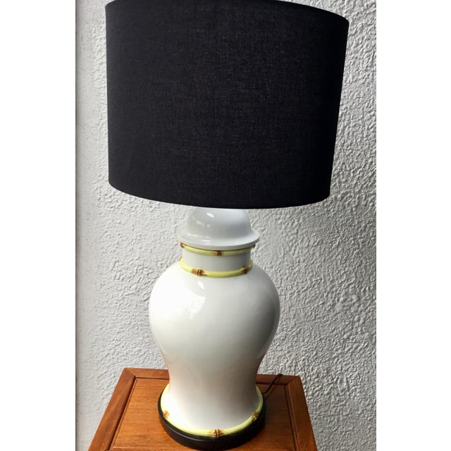 Asian 1970s Large Porcelain Bamboo Detailed Temple Urn Lamp For Sale - Image 3 of 12