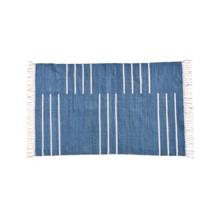 Hibiscus Rug, 5x8, Blue & White For Sale