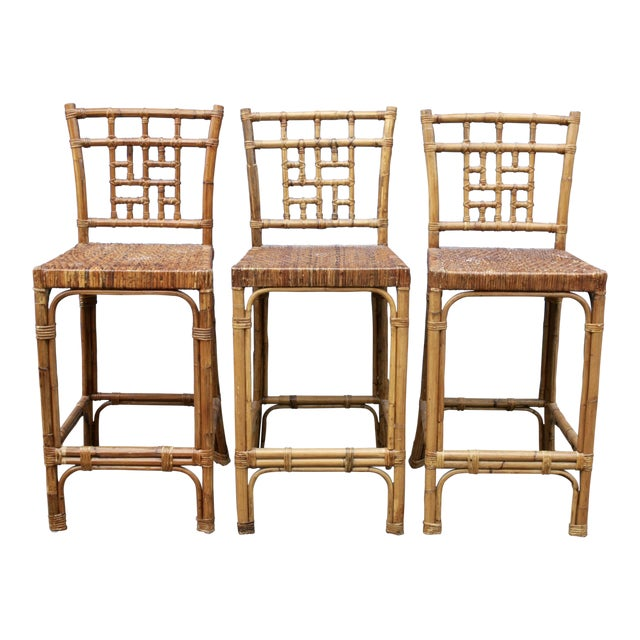 Rattan Wicker McGuire-Style Fretwork Bar Stools - Set of 3 For Sale