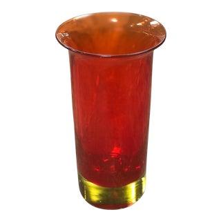 1960s Seguso Murano Red Opalescent Cylindrical Italian Art Glass Flower Vase For Sale