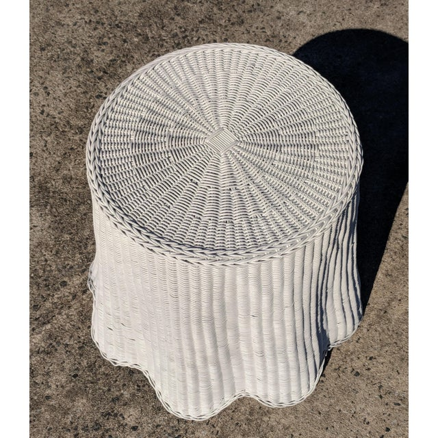 Boho Chic Trompe l'Oeil Draped White Wicker Rattan Ghost Table For Sale - Image 3 of 10