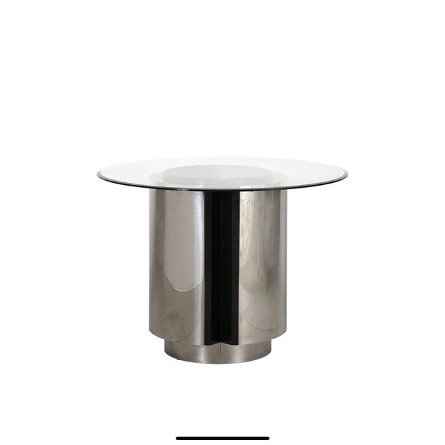 Chrome 1980s Pace Collection Chrome and Granite Dining Table With Glass Top For Sale - Image 8 of 8