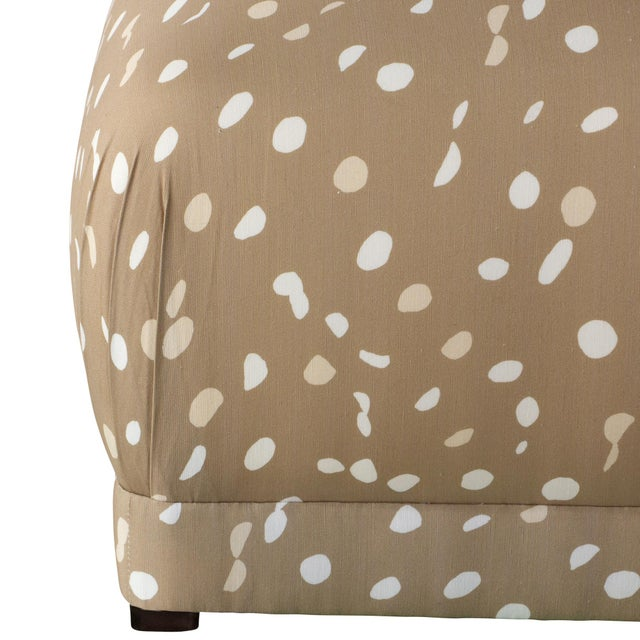 Contemporary Ottoman in Camel Dot by Angela Chrusciaki Blehm for Chairish For Sale - Image 3 of 6