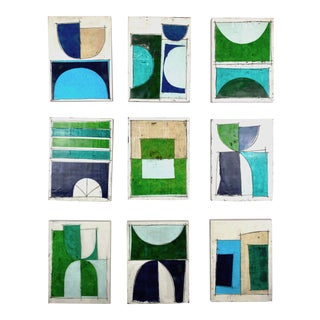 """Encaustic Collage by Gina Cochran """"Wigs on the Green"""" - Set of 9 For Sale"""