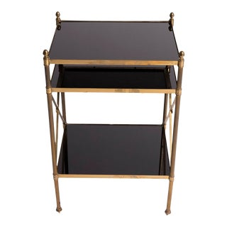 1960s Maison Jansen Mid Century French Brass Side Table For Sale