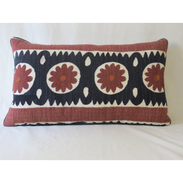 Boho Chic Vintage Suzani Textile Pillow For Sale - Image 3 of 3