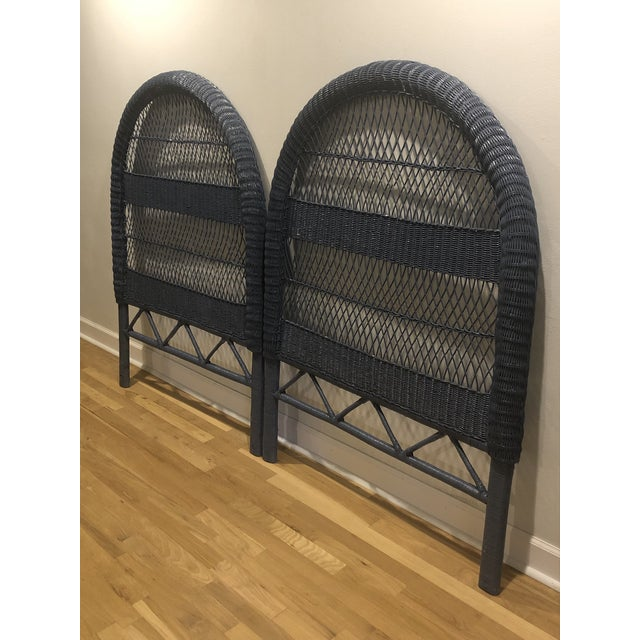 Mid-Century Modern Vintage French Blue Wicker Twin Headboards - a Pair For Sale - Image 3 of 11