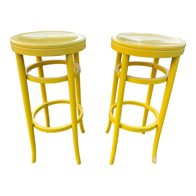Canary Yellow 1970s Thonet Tall Yellow Bar Stools - a Pair For Sale - Image 8 of 8